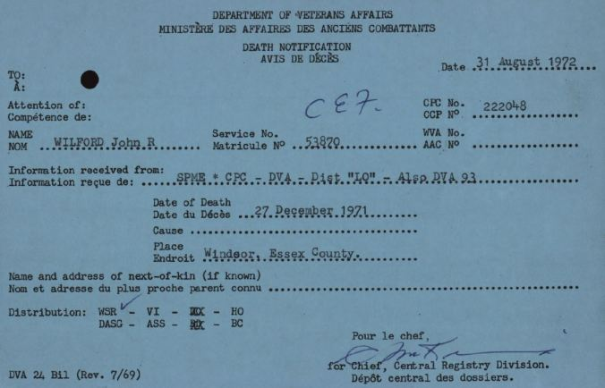 Veterans Affairs Death Card