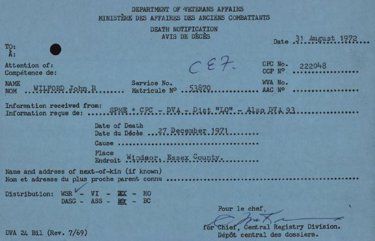 Veterans Affairs Death Card