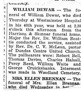 William Robb Dewar Obituary Short