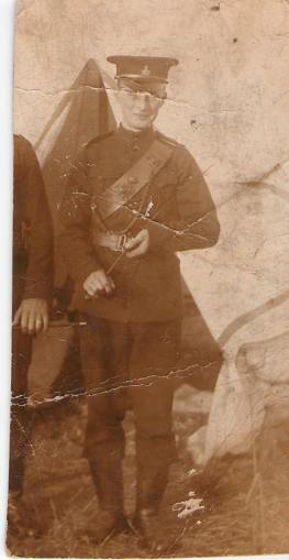 West, Bert: Service no. 53521 Circa 1910 - 1919. I believe this is a milita uniform. Source: Via 18th Battalion Facebook Group post by family member. This soldier is also related to to John Douglass, reg. no. 53448 by marriage. John was Bert West's father-in-law.