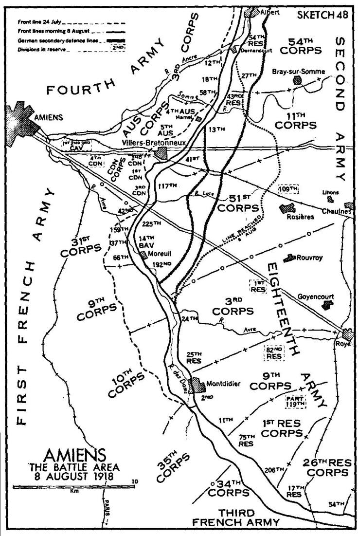 AMIENS The Battle Area 8 August 1918