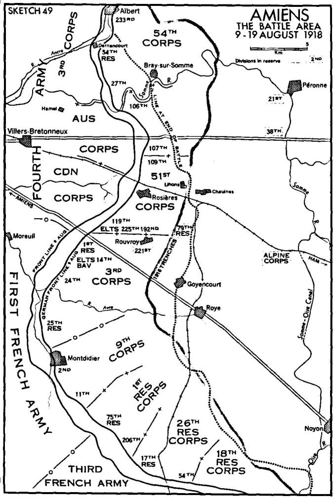 AMIENS The Battle Area 9 to 19 August 1918