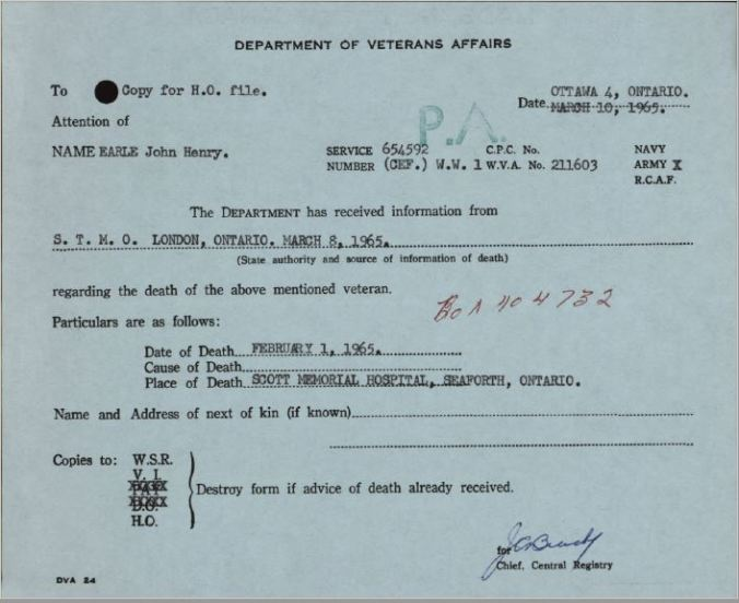 Department of Veterans Affairs Death Notice Earle Joh 654592