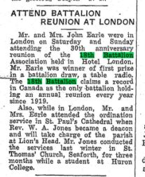 The Seaforth News June 2 1949 Page 1 John Earle attends 18th Battalion Reunion
