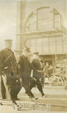 The_18th_Battalion_Leaving_Windsor_1914__Lt_Col_ES_Wigle_OC_18th_Battalion_Rev_Arthur_Carlisle_Lt_Col_Casgrain