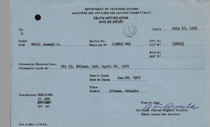Veterans Affairs Death Notice Joseph A Wood 115803
