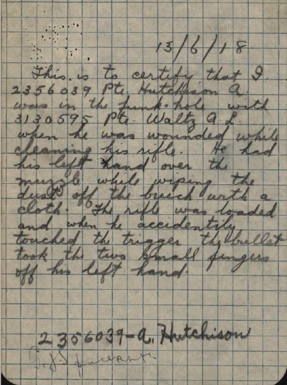 Witness Statement by Pte Alonzo Hutchison 2356039