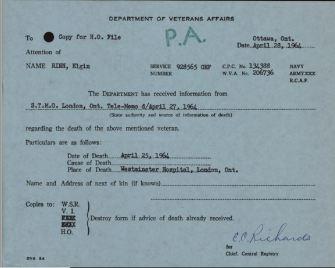 Veterans Death Notice Rinn