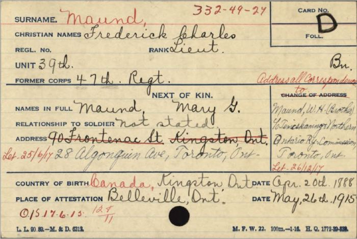Address Card showing Next of Kin and Brothers address where he worked for a railway