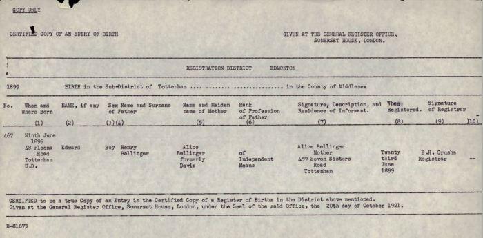 Copy of Birth Certificate