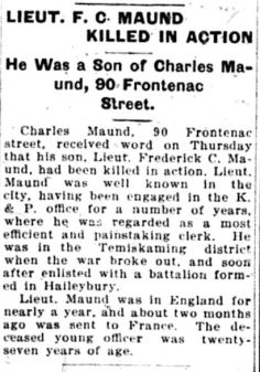 Source: Daily British Whig. September 22, 1916. Submitted by Iris Russak via Peter Gower.