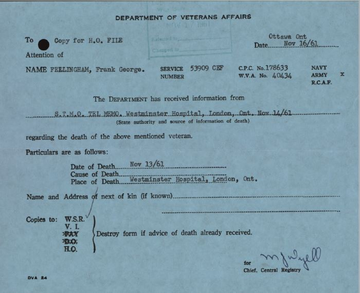 Dept Veterans Affairs Death Card Fellingham 53909