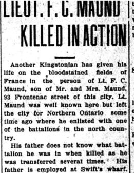 Source: Kingston Daily Standard. September 22, 1916. Submitted by Iris Russak via Peter Gower.