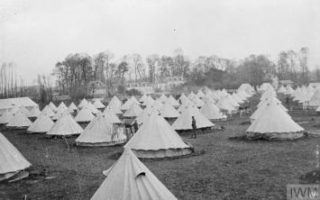HE BRITISH EXPEDITIONARY FORCE ON THE WESTERN FRONT, 1914-1915 (Q 53106) General view of the Base Camp. Le Havre, 1914. Copyright: © IWM. Original Source: http://www.iwm.org.uk/collections/item/object/205286624