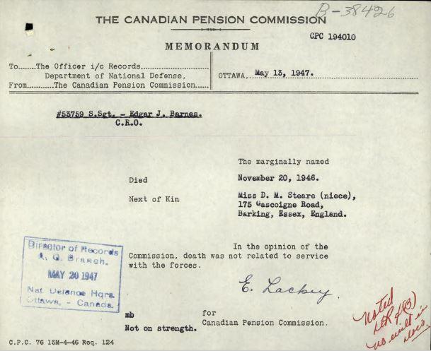 Pension notice of death