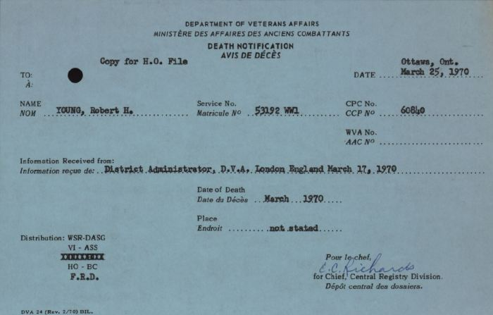 Veterans Affairs Death Notice R Young 53192