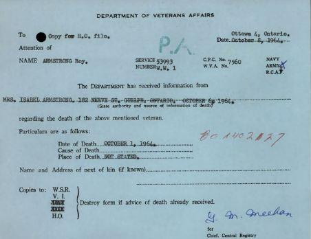 Veterans Death Notice