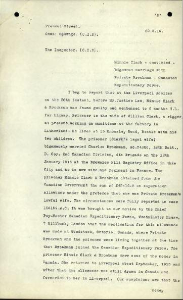 CID Report re Bigamy Minnie Clarke Page 1
