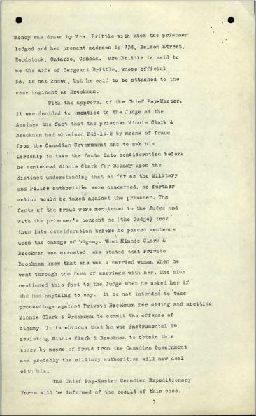 CID Report re Bigamy Minnie Clarke Page 2