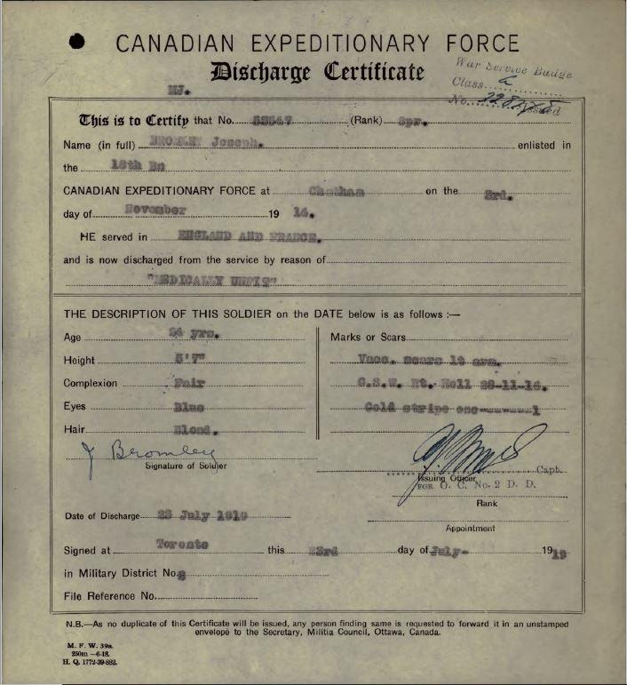 Discharge Cert Joseph Bromley 53547