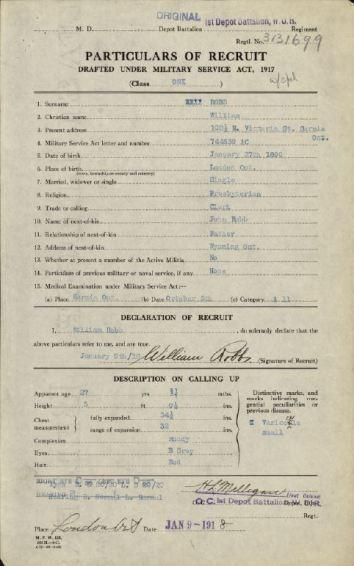 Enlistment Paper Robb 3131699