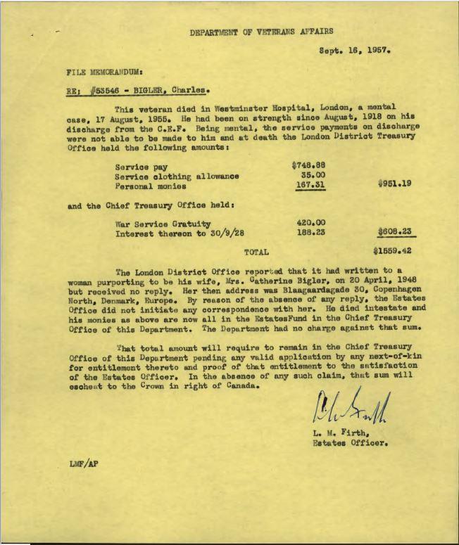 Estate Letter upon Death Bigler 53546