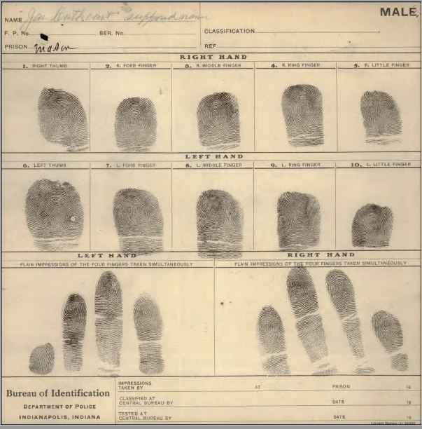 Finger Printers Department of Police Indianapolis Indiana