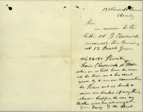 Letter re will from G M Best