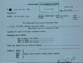 Veterans Affairs Canada Death Card for McCausland John G 53708