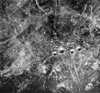 Aeriel reconnasance photograph of the St. Eloi Craters.