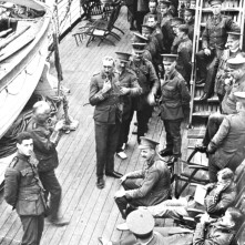 Officers on deck. Scenes taken by Col. Lamb when 1st Division cr