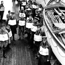 Convoy to England, on deck wearing life jackets