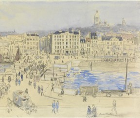 The Hôtel Christol, Boulogne (Art.IWM ART 3324) image: a cityscape view across a wide bridge spanning a river. On the far bank in the centre is a large hotel building lettered 'Christol', while other substantial buildings extend on either side. The bridge is busy with uniformed and civilian figures and vehicles; an ambulance is turning off the bridge in the foreground. Copyright: © IWM. Original Source: http://www.iwm.org.uk/collections/item/object/22135