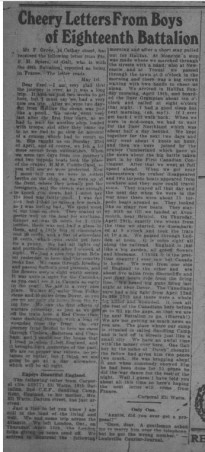 Cheery Letters From Boys of Eighteenth Battalion GDR May 27 1915 Page 12