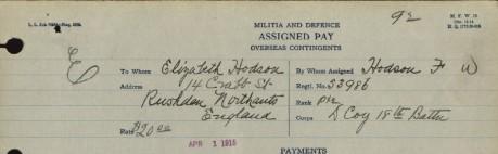 Assigned pay form showing Elizabeth Hodsons address at Rushden England