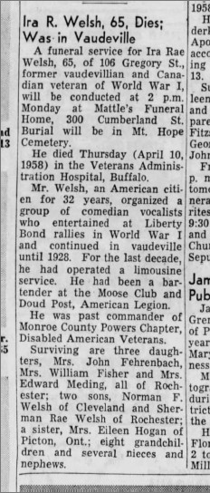 Democrate and Chronicle. Rochester New York. April 12, 1958. Page 12