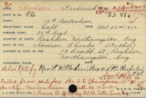 Embarkation Card Hodson showing wifes address before she moved to England