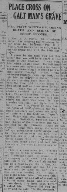 GDR December 8 1915 Page 3 Places Cross on Galt Mans Grave Letter by Petit re Spooner Part 1
