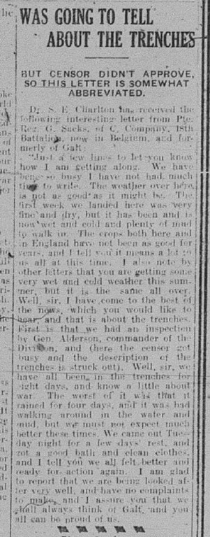 GDR October 29 1915 Page 2 Was Going to Tell About the Trenches by R.G. Sacks