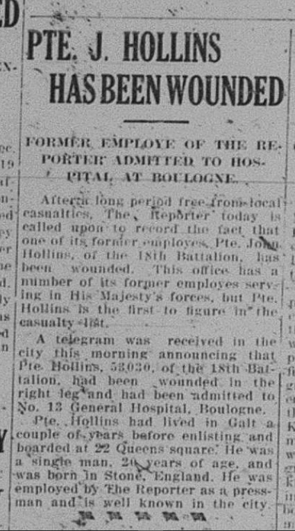 GDR December 21 1915 Page 1 PTE J Hollins Has Been Wounded