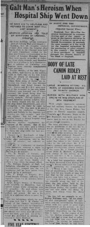 GDR November 29 1915 Page 5 Galt Mans Heroism When Hosptital Ship Went Down Callander
