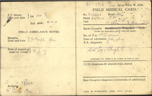 Field Medical Card for Private Liston when he was wounded.