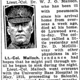 News clipping regarding his death.