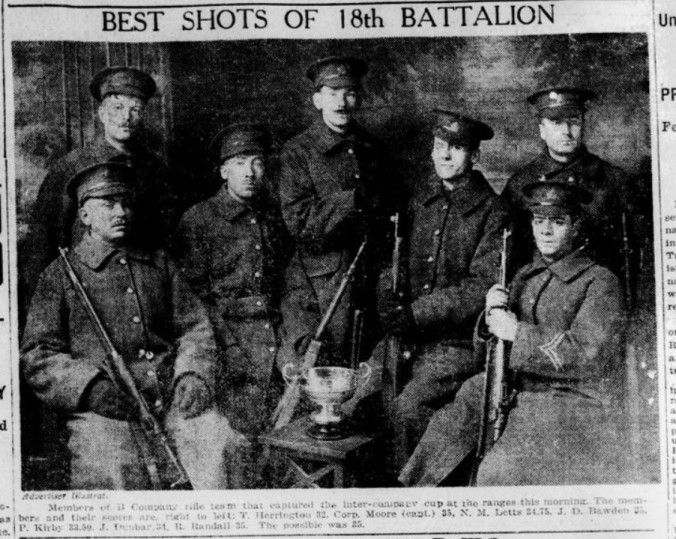 Best Shots of the 18th Battalion London Advertiser December 14 1914 Page 1