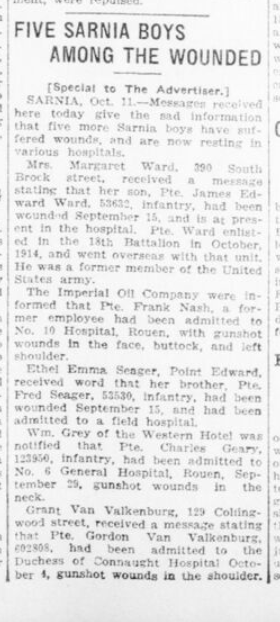 Five Sarnia Boys Among the Wounded London Advertiser. October 12 1916. Page 11