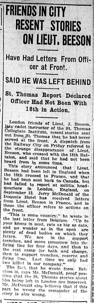 Friends in City Resent Stories on Lieut. Beeson London Advertiser October 7 1916