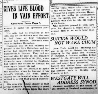 Source: London Advertiser.April 24, 1922. Page 1 and 2.