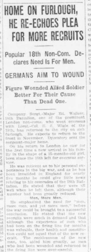 Home on Furlough He Re Echoes Need for More Recruits Sgt Walker Part 1 London Advertiser October 14 1916 Page 2