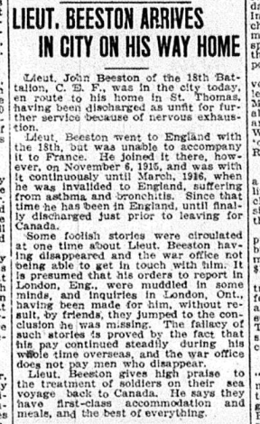 Lieut Beeson Arrives in City on his Way Home London Advertiser January 18 1917 Page 3