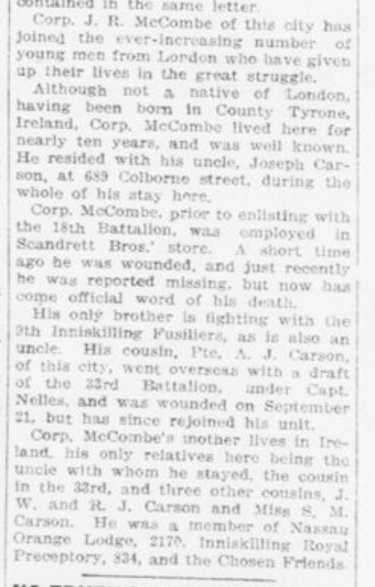 McCombe London Advertiser October 27 1916 Page 3